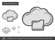 Cloud storage line icon. Royalty Free Stock Photo