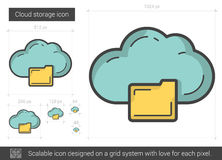 Cloud storage line icon. Cloud storage vector line icon isolated on white background. Cloud storage line icon for infographic, website or app. Scalable icon Royalty Free Stock Photos