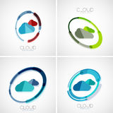 Cloud storage logotype set, 3d minimal design Royalty Free Stock Photo