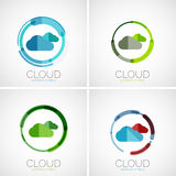 Cloud storage logotype set, flat design. Cloud storage, flat design company logo, business symbol concept, minimal line style Stock Photography