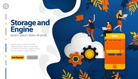Cloud storage and machines in storage, securing the storage process vector illustration concept can be use for, landing page, temp vector illustration