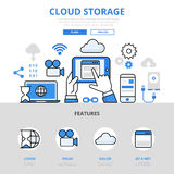 Cloud storage mobile app  concept flat line art vector icons Royalty Free Stock Photos