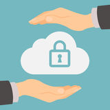Cloud storage protection. Data privacy and computer safety. Hands safe the cloud Royalty Free Stock Photos