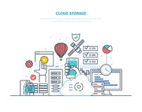 Cloud storage, resources. Mobile applications, security of cloud data storage. Cloud storage service. Security of data storage device. Internet media server Royalty Free Stock Photo