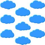 Cloud Storage Set. Set of different clouds; Weather sign or symbol of cloud storage Stock Photo
