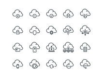 Cloud storage. Set of outline vector icons. Includes such as Data Synchronisation. Transfer, Cloud Settings and other on a white background Stock Photography