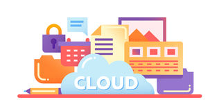 Cloud Storage Technology - flat design website banner. Cloud Storage Technology - vector modern flat design illustration with files, cloud, lock and other Stock Photo