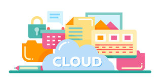 Cloud Storage Technology - flat design website banner Royalty Free Stock Photography