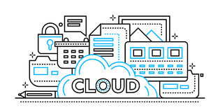 Cloud Storage Technology - flat line design website banner Stock Photography