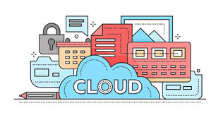 Cloud Storage Technology - flat line design website banner. Cloud Storage Technology - vector modern flat line design illustration with files, cloud, lock and Stock Images