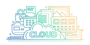 Cloud Storage Technology - flat line design website banner Stock Photo