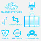 Cloud storage. Vector flat icons of cloud storage and computer server Stock Photography