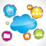 Cloud storage. Vector theme illustration Royalty Free Stock Image
