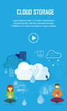 Cloud Storage Video Web Banner in Flat Style. Information sharing and saving. Servers, users, drops, computer networks,media icons. Illustration for video Stock Images