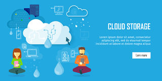 Cloud Storage Web Banner in Flat Style. Information sharing and saving. Servers, users, drops, computer networks,media icons. Illustration for video Stock Images