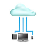 Cloud Store data upload communication device. Graphic vector eps10 Stock Photo
