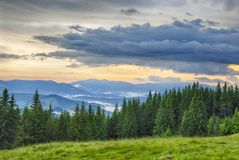 Cloud after storm in mountains. Cloud after storm in Carpathians Stock Image