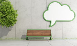 Cloud street billboard. Blank street billboard  with the form of a cloud on concrete wall with bench - 3D Rendering Royalty Free Stock Photography
