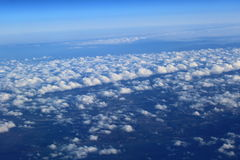 Cloud Streets. Aerial view of Cloud Streets from airplane royalty free stock photo