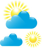 Cloud and sun. Set of cloud and sun isolated on white background. Vector illustration stock illustration