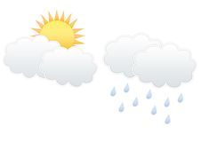 Cloud and Sun, Cloud and raindrops Royalty Free Stock Photos