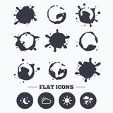 Cloud and sun icon. Storm symbol. Moon and stars. Paint, coffee or milk splash blots. Weather icons. Moon and stars night. Cloud and sun signs. Storm or stock illustration