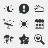 Cloud and sun icon. Storm symbol. Moon and stars. Weather icons. Moon and stars night. Cloud and sun signs. Storm or thunderstorm with lightning symbol Royalty Free Stock Photo
