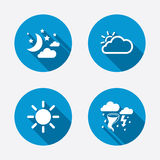 Cloud and sun icon. Storm symbol. Moon and stars Royalty Free Stock Photo