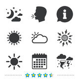 Cloud and sun icon. Storm symbol. Moon and stars. Weather icons. Moon and stars night. Cloud and sun signs. Storm or thunderstorm with lightning symbol Stock Image