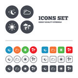 Cloud and sun icon. Storm symbol. Moon and stars Royalty Free Stock Photography