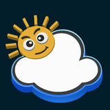Cloud and sun. Illustrations of cloud and sun on dark background Stock Photography