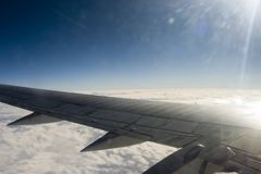 Cloud, sun, plane. Fly, journey royalty free stock photos