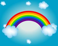 Cloud, sun, rainbow vector illustration background royalty free illustration