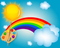 Cloud, sun, rainbow vector illustration background Stock Photo