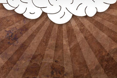 Cloud  with sun rays on old paper Royalty Free Stock Images