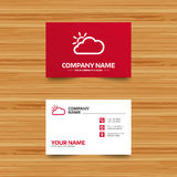 Cloud and sun sign icon. Weather symbol. Business card template. Cloud and sun sign icon. Weather symbol. Phone, globe and pointer icons. Visiting card design Royalty Free Stock Images
