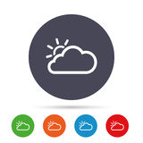 Cloud and sun sign icon. Weather symbol. Round colourful buttons with flat icons. Vector Stock Photos