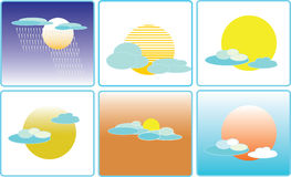 Cloud and sun weather climate icon illustration. Cloud and sun weather climate icon set royalty free illustration