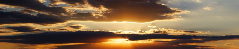 Cloud Sunset Panorama. High-resolution sunset cloud panorama Royalty Free Stock Photography