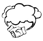 Cloud support concept. Business . Black and white illustration Vector Illustration