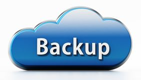 Cloud symbol with backup text. 3D illustration.  Stock Photo