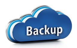 Cloud symbol with backup text. 3D illustration.  Royalty Free Stock Image