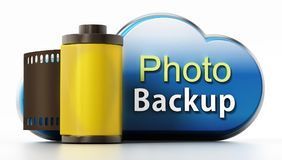Cloud symbol with backup text and film strip. 3D illustration.  Stock Image