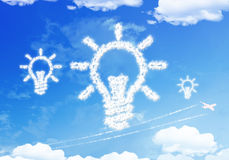 Cloud symbol : BULB on the sky. Royalty Free Stock Image