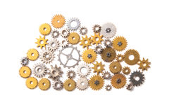 Cloud symbol composed with cogs Stock Photos