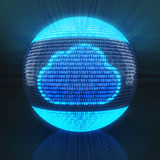 Cloud symbol on globe formed by binary code Royalty Free Stock Photo