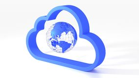 Cloud symbol with globe inside on white Stock Photos