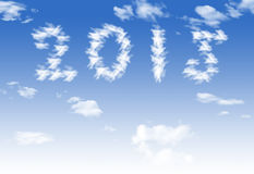 Cloud 2015 symbol shape over blue sky.  Royalty Free Stock Image