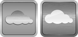 Cloud symbols on a brushed metallic buttons. Pair of metal buttons with cloud symbols royalty free illustration