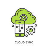 Cloud Sync and Data. Vector Icon Style Illustration Logo of Cloud Sync and Data, Internet-based Computing with Shared Mobile Processing Resources, Shared pPool Royalty Free Stock Photos